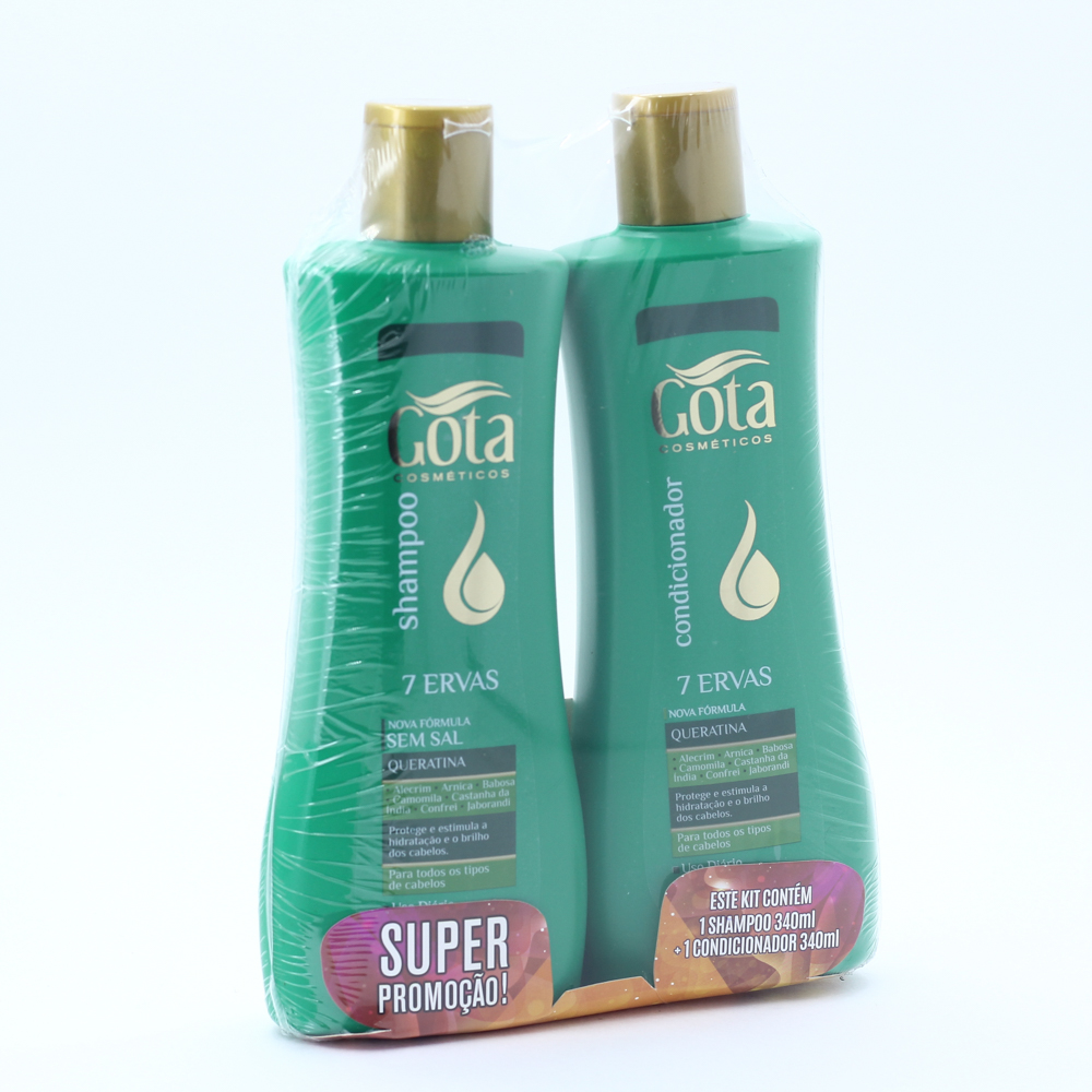 Kit Gota Dourada Shampoo + Condicionador 340ml 7 Ervas - Pc