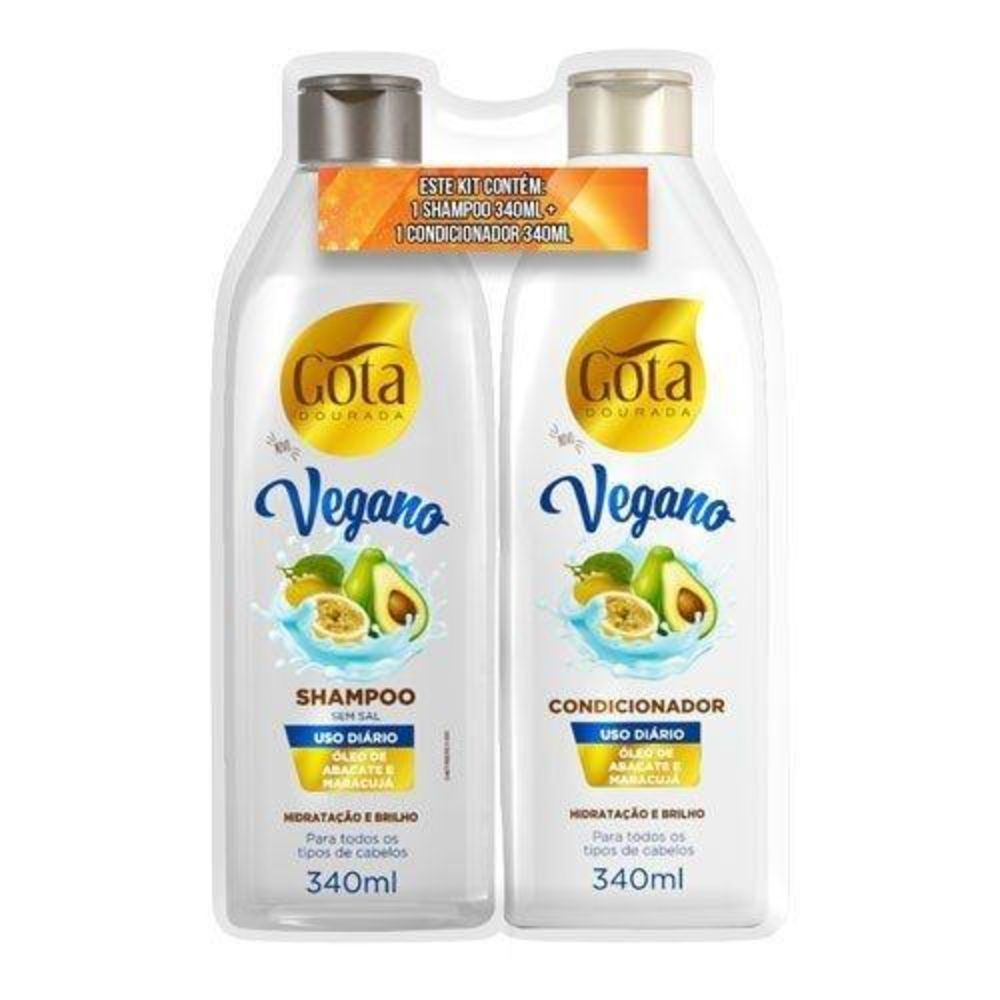Kit Gota Dourada Shampoo +condicionador 340ml Vegano - Pc