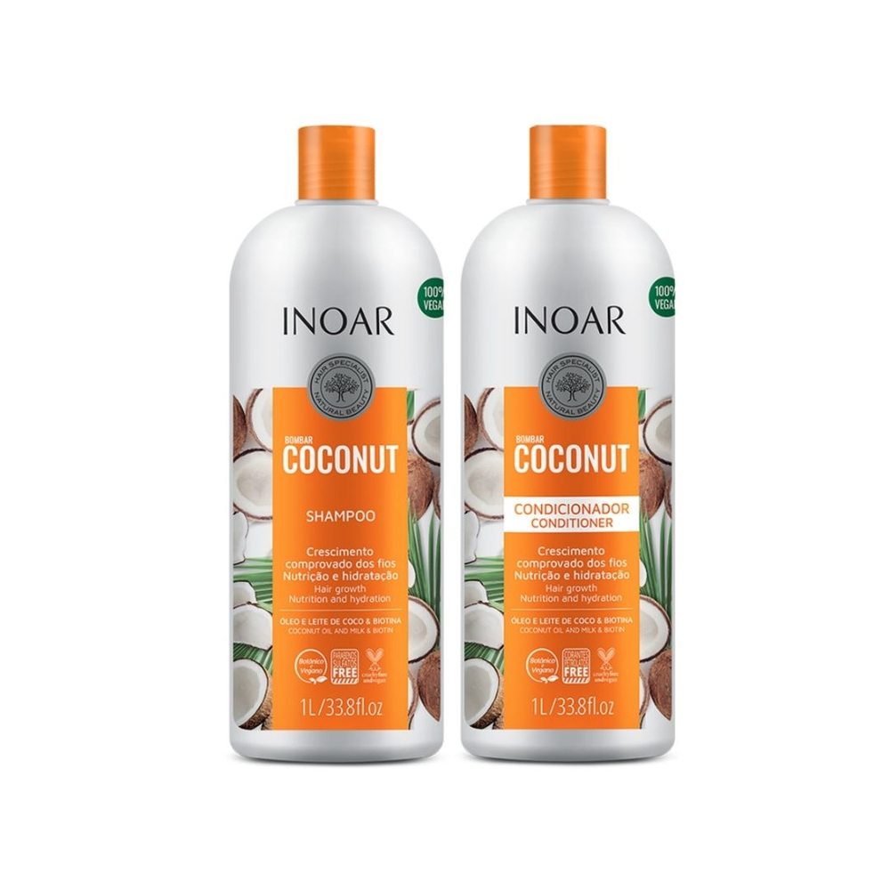 Kit Inoar Bombar Coconut Shampoo + Condicionador 1000ml - Pc