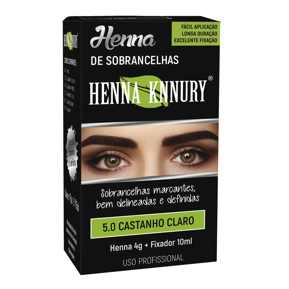 Kit Henna 4g+fixador 10ml Knnury Castanho Claro - Pc