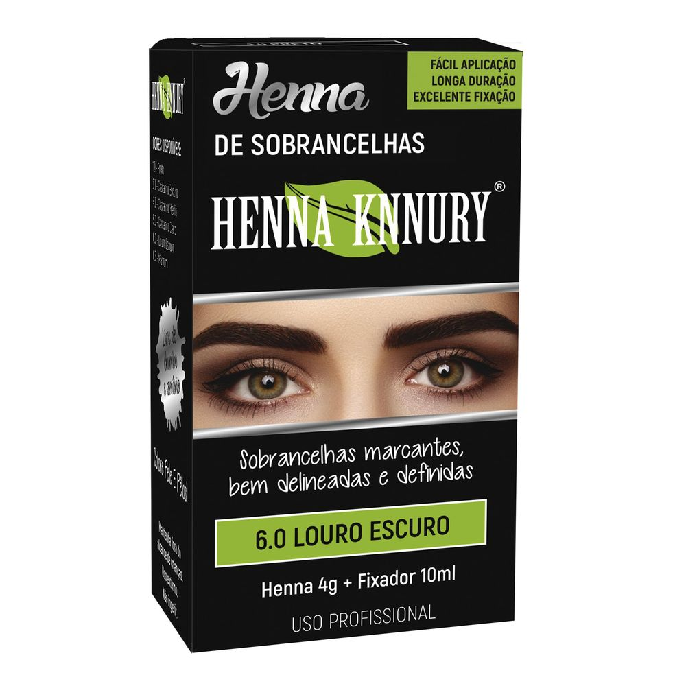 Kit Henna 4g+fixador 10ml Knnury Louro Escuro - Pc