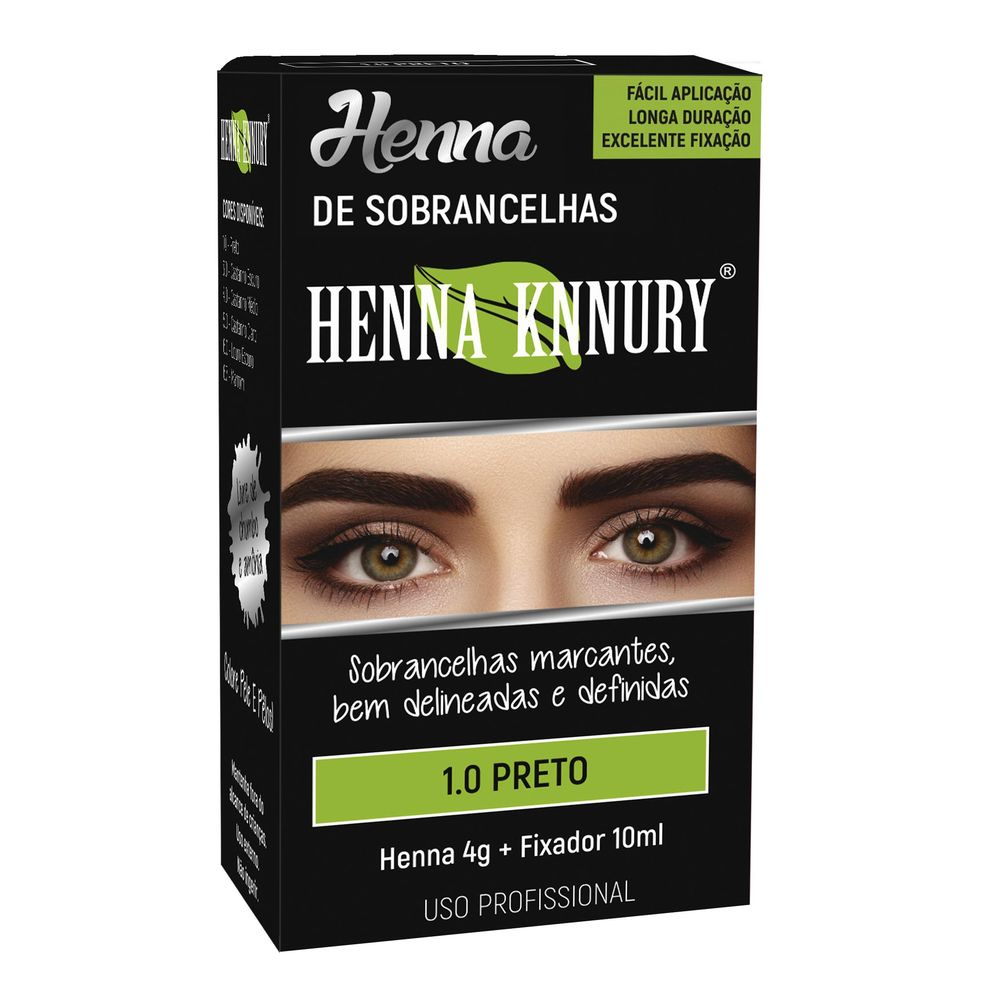 Kit Henna 4g+fixador 10ml Knnury Preto - Pc