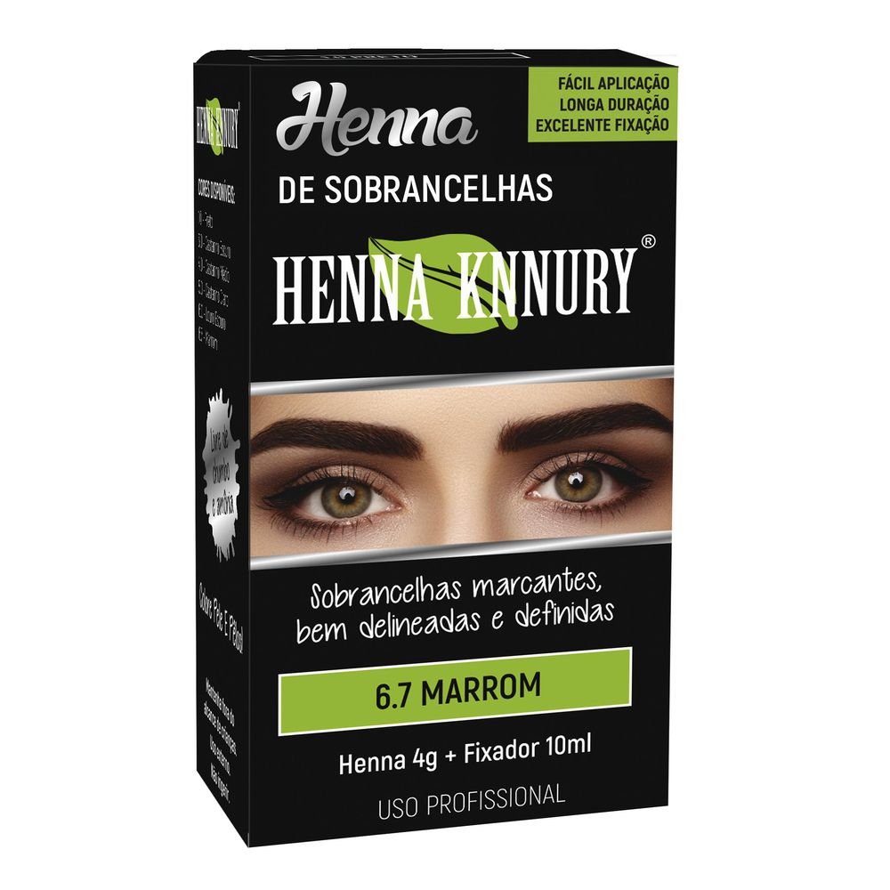 Kit Henna 4g+fixador 10ml Knnury Marrom - Pc